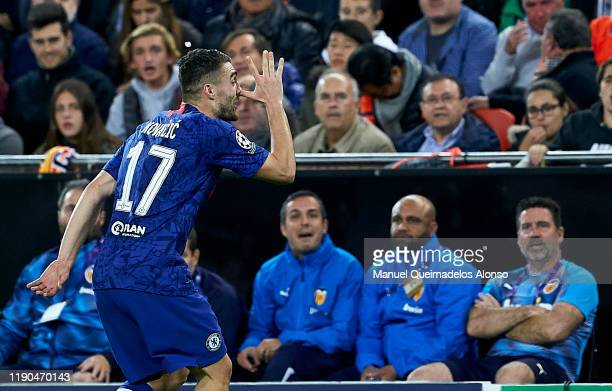 Mateo Kovacic of Chelsea celebrates after scoring his team's first goal during the UEFA Champions League group H match between Valencia CF and...