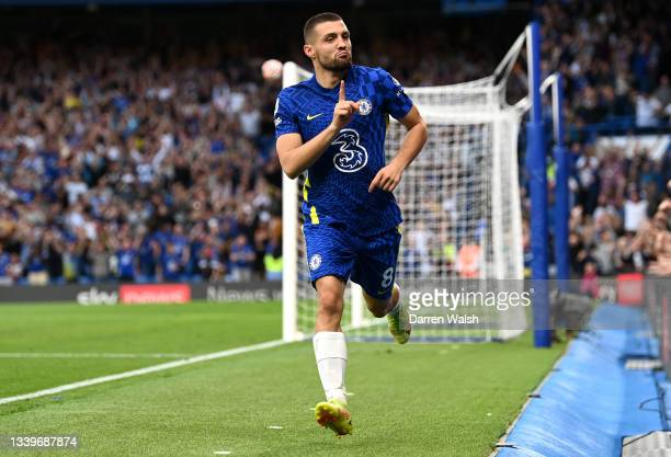 Mateo Kovacic of Chelsea celebrates after scoring their side's second goal during the Premier League match between Chelsea and Aston Villa at...