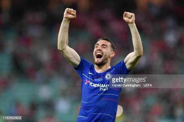 Mateo Kovacic of Chelsea celebrates following his sides victory in the UEFA Europa League Final between Chelsea and Arsenal at Baku Olimpiya Stadionu...