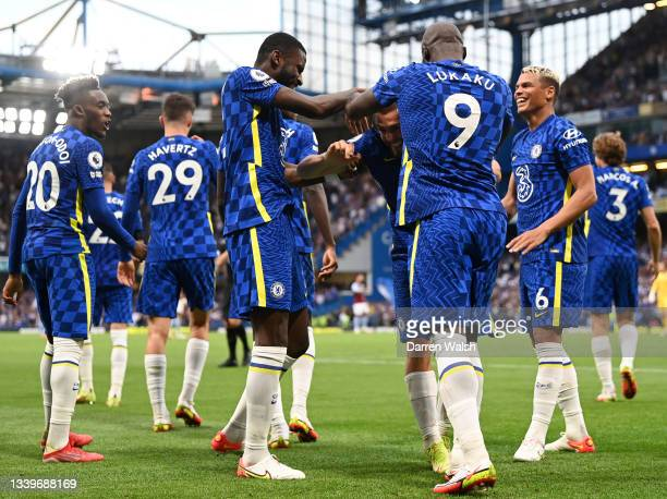Mateo Kovacic of Chelsea celebrates with Romelu Lukaku after scoring their side's second goal during the Premier League match between Chelsea and...