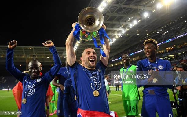 Mateo Kovacic of Chelsea celebrates with the Champions League Trophy following their team's victory during the UEFA Champions League Final between...