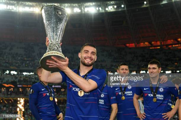 Mateo Kovacic of Chelsea celebrates with the Europa League Trophy following his team's victory in the UEFA Europa League Final between Chelsea and...
