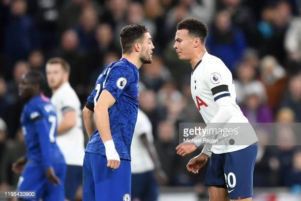 Mateo Kovacic of Chelsea clashes with Dele Alli of Tottenham Hotspur during the Premier League match between Tottenham Hotspur and Chelsea FC at...