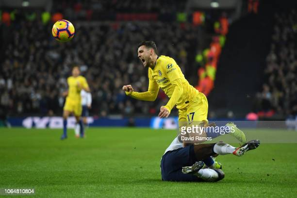 Mateo Kovacic of Chelsea collides with Moussa Sissoko of Tottenham Hotspur during the Premier League match between Tottenham Hotspur and Chelsea FC...