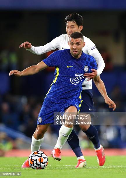 Mateo Kovacic of Chelsea FC and Heung-Min Son of Tottenham Hotspur in action FC during the Pre Season Friendly between Chelsea and Tottenham Hotspur...