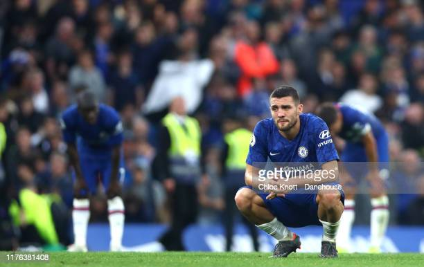 Mateo Kovacic of Chelsea FC reacts after loosing the Premier League match between Chelsea FC and Liverpool FC at Stamford Bridge on September 22,...