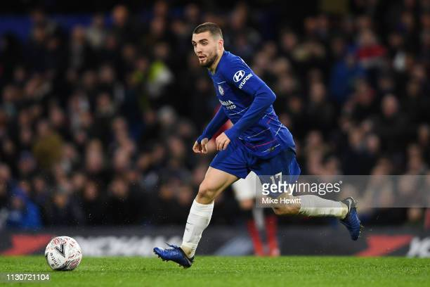 Mateo Kovacic of Chelsea in action during the FA Cup Fifth Round match between Chelsea and Manchester United at Stamford Bridge on February 18 2019...