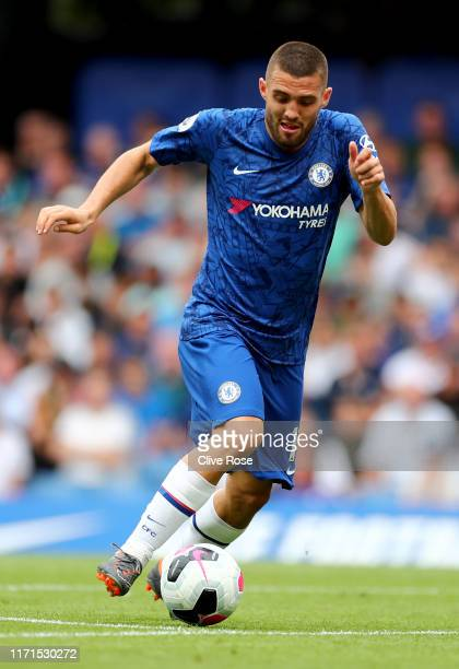 Mateo Kovacic of Chelsea in action during the Premier League match between Chelsea FC and Sheffield United at Stamford Bridge on August 31, 2019 in...
