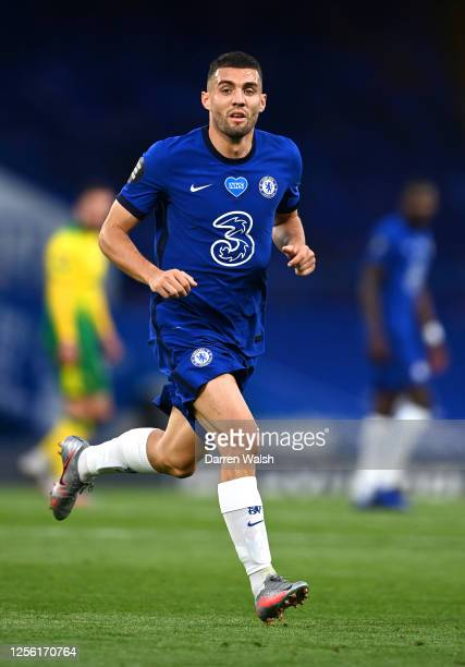 Mateo Kovacic of Chelsea in action during the Premier League match between Chelsea FC and Norwich City at Stamford Bridge on July 14, 2020 in London,...
