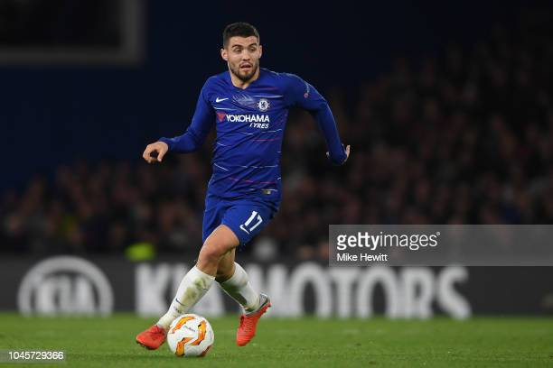Mateo Kovacic of Chelsea in action during the UEFA Europa League Group L match between Chelsea and Vidi FC at Stamford Bridge on October 4 2018 in...