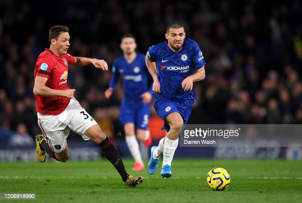 Mateo Kovacic of Chelsea is closed down by Nemanja Matic of Manchester United during the Premier League match between Chelsea FC and Manchester...