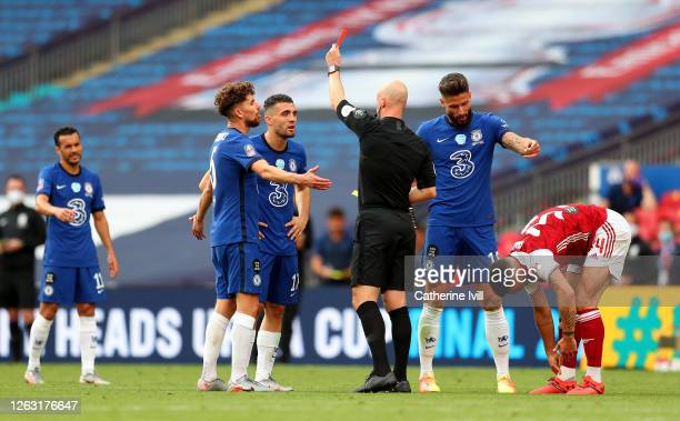 Mateo Kovacic of Chelsea is shown the red card after receiving a second yellow card from match referee Anthony Taylor during the Heads Up FA Cup...