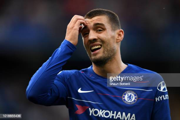 Mateo Kovacic of Chelsea looks on during the Premier League match between Chelsea FC and Arsenal FC at Stamford Bridge on August 18 2018 in London...