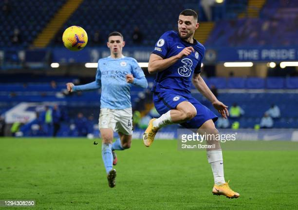 Mateo Kovacic of Chelsea looks to control the ball during the Premier League match between Chelsea and Manchester City at Stamford Bridge on January...