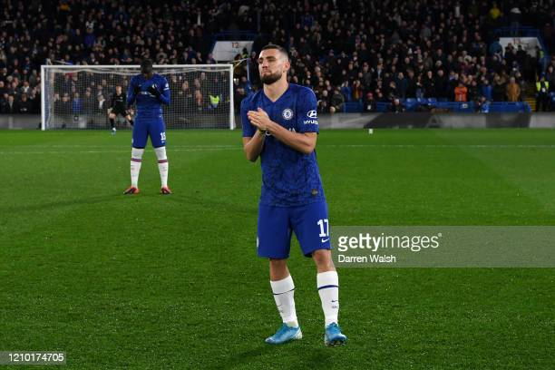 Mateo Kovacic of Chelsea on the pitch prior to the FA Cup Fifth Round match between Chelsea FC and Liverpool FC at Stamford Bridge on March 03 2020...