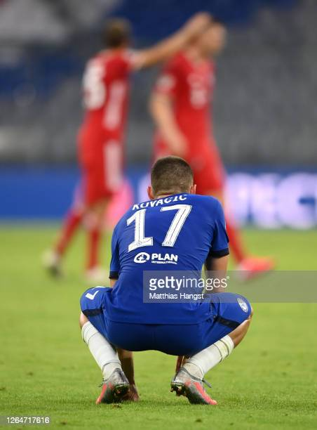Mateo Kovacic of Chelsea reacts after the UEFA Champions League round of 16 second leg match between FC Bayern Muenchen and Chelsea FC at Allianz...