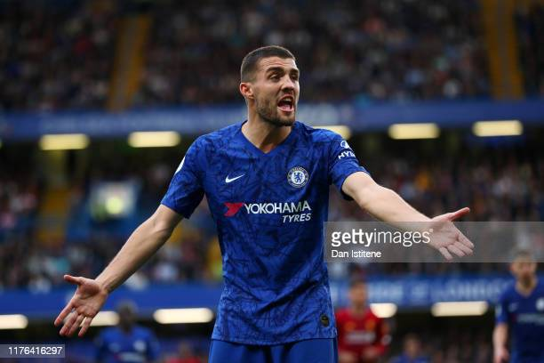 Mateo Kovacic of Chelsea reacts during the Premier League match between Chelsea FC and Liverpool FC at Stamford Bridge on September 22, 2019 in...