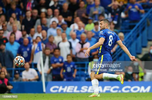 Mateo Kovacic of Chelsea scores his teams second goal during the Premier League match between Chelsea and Aston Villa at Stamford Bridge on September...
