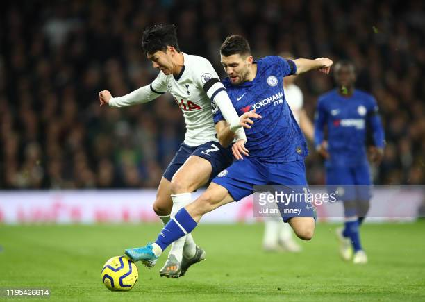 Mateo Kovacic of Chelsea tackles Heung-Min Son of Tottenham Hotspur during the Premier League match between Tottenham Hotspur and Chelsea FC at...