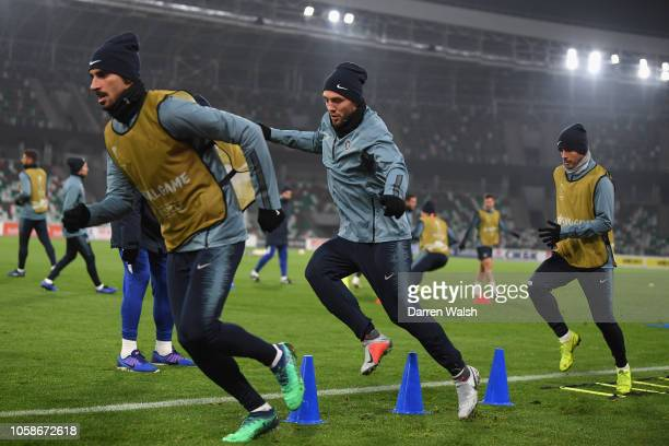 Mateo Kovacic of Chelsea warms up during a training session on November 7 2018 at the Dinamo Stadium in Minsk Belarus