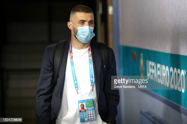 Mateo Kovacic of Croatia arrives at the stadium prior to the UEFA Euro 2020 Championship Group D match between Croatia and Czech Republic at Hampden...
