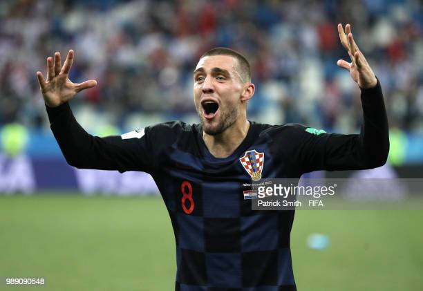 Mateo Kovacic of Croatia celebrates following his sides victory in a penalty shoot out during the 2018 FIFA World Cup Russia Round of 16 match...