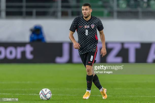 Mateo Kovacic of Croatia controls the Ball during the international friendly match between Switzerland and Croatia at Kybunpark on October 7, 2020 in...