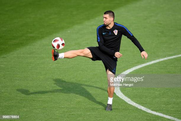 Mateo Kovacic of Croatia in action during a Croatia training session during the 2018 FIFA World Cup at Luzhniki Stadium on July 14 2018 in Moscow...