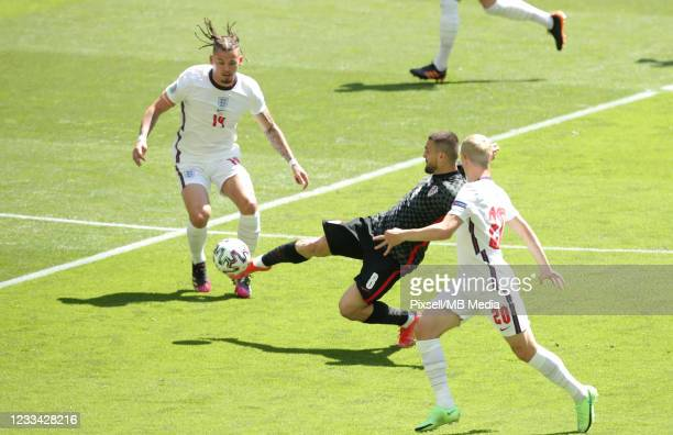 Mateo Kovacic of Croatia in action during the UEFA Euro 2020 Championship Group D match between England and Croatia on June 13, 2021 in London,...