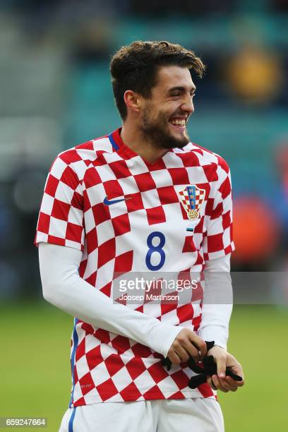 Mateo Kovacic of Croatia laughs prior to international friendly between Estonia and Croatia at A le Coq Arena on March 28 2017 in Tallinn Estonia