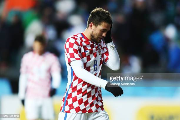 Mateo Kovacic of Croatia looks dejected after the first half of international friendly between Estonia and Croatia at A le Coq Arena on March 28 2017...