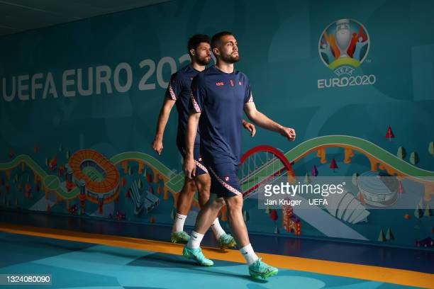 Mateo Kovacic of Croatia makes their way towards the pitch prior to the Croatia Training Session ahead of the UEFA Euro 2020 Group D match between...