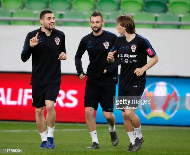 Mateo Kovacic of Croatia Marcelo Brozovic of Croatia and Luka Modric of Croatia attend a training session ahead of the UEFA EURO 2020 Qualifier match...