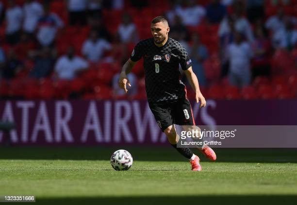 Mateo Kovacic of Croatia runs with the ball during the UEFA Euro 2020 Championship Group D match between England and Croatia at Wembley Stadium on...
