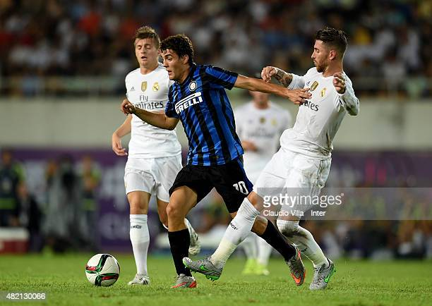Mateo Kovacic of FC Internazionale and Sergio Ramos of Real Madrid compete for the ball during the International Champions Cup match between FC...