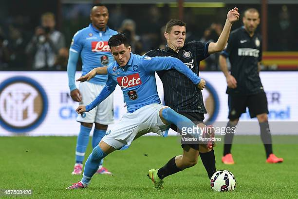 Mateo Kovacic of FC Internazionale Milano competes with Jose Maria Callejon of SSC Napoli during the Serie A match between FC Internazionale Milano...