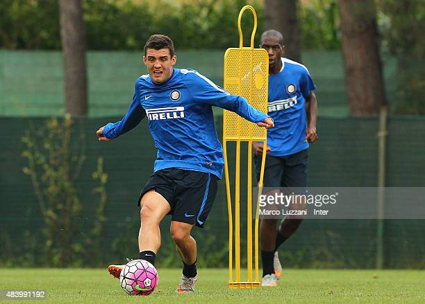 Mateo Kovacic of FC Internazionale Milano kicks a ball during FC Internazionale training session at the club's training ground on August 14 2015 in...