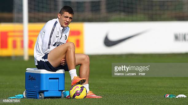 Mateo Kovacic of FC Internazionale Milano looks on during FC Internazionale training session at the club's training ground on October 30 2014 in...
