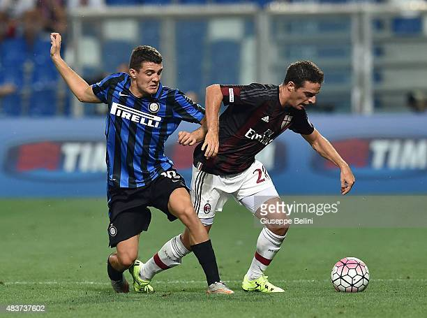 Mateo Kovacic of Inter and Giacomo Bonaventura of Milan in action during the TIM preseason tournament match between AC Milan and FC Internazionale at...