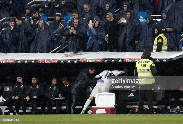 Mateo Kovacic of Real Madrid celebrates after scoring a goal during the La Liga soccer match between Real Madrid CF and Real Sociedad at Santiago...