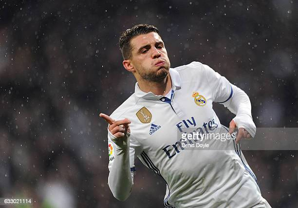 Mateo Kovacic of Real Madrid celebrates after scoring Real's 1st during the La Liga match between Real Madrid CF and Real Sociedad de Futbol at the...