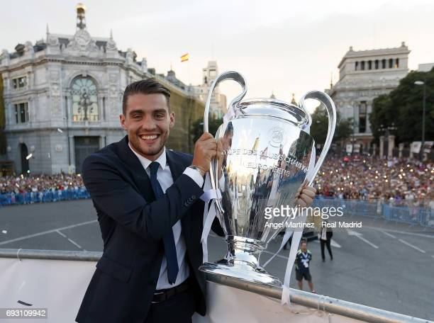Mateo Kovacic of Real Madrid celebrates his UEFA Champions League victory at Cibeles square on June 4 2017 in Madrid Spain
