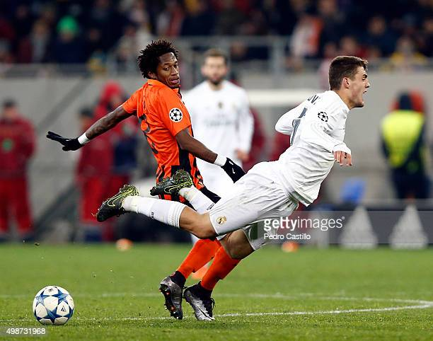Mateo Kovacic of Real Madrid CF duels for the ball with Fred of FC Shakhtar Donetsk during the UEFA Champions League match between FC Shakhtar...