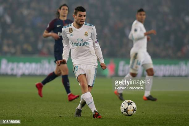 Mateo Kovacic of Real Madrid in action during the UEFA Champions League Round of 16 Second Leg match between Paris SaintGermain and Real Madrid at...