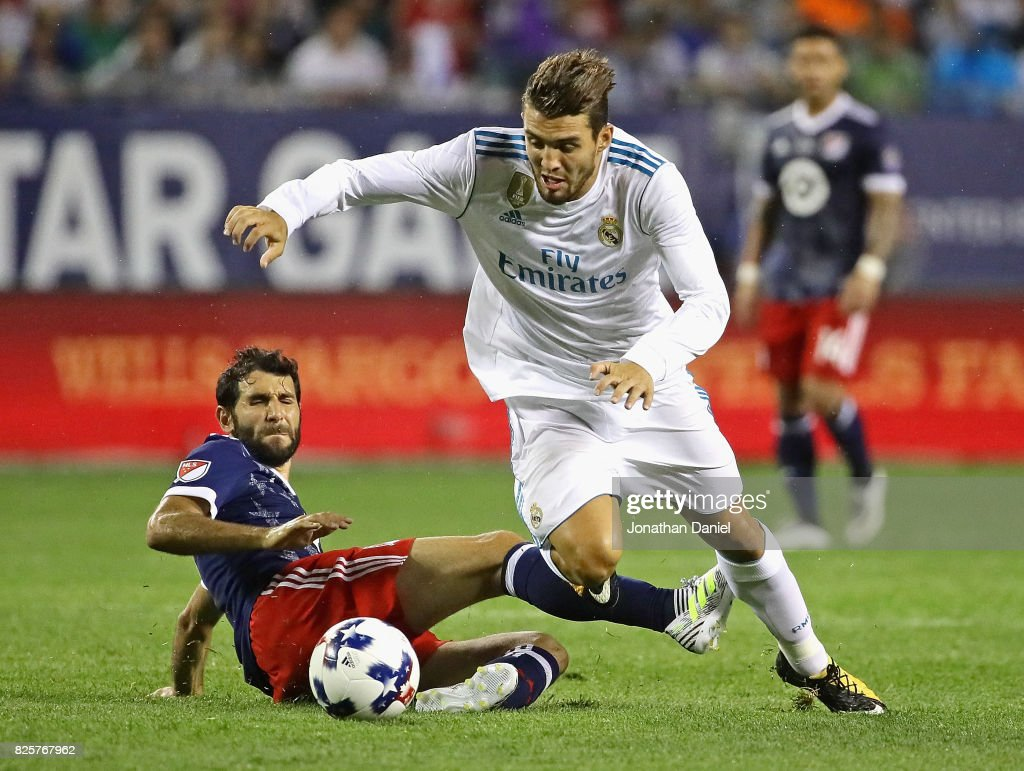 Mateo Kovacic #16 of Real Madrid moves past Diego Valeri #9 of the MLS All-Stars during the 2017 MLS All- Star Game at Soldier Field on August 2, 2017 in Chicago, Illinois. Real Madrid defeated the MLS All-Stars 4-2 in a shootout following a 1-1 regulation tie.