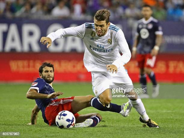 Mateo Kovacic of Real Madrid moves past Diego Valeri of the MLS AllStars during the 2017 MLS All Star Game at Soldier Field on August 2 2017 in...
