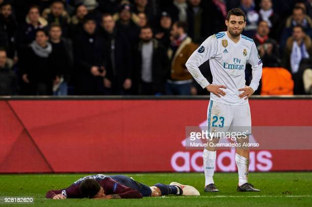 Mateo Kovacic of Real Madrid reacts after fouling Angel Di Maria of Paris SaintGermain during the UEFA Champions League Round of 16 Second Leg match...