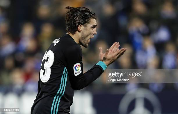 Mateo Kovacic of Real Madrid reacts during the Spanish Copa del Rey Quarter Final First Leg match between Leganes and Real Madrid at Estadio...