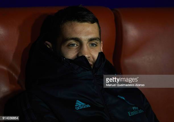 Mateo Kovacic of Real Madrid sits on the bench before the La Liga match between Levante and Real Madrid at Ciutat de Valencia on February 3 2018 in...