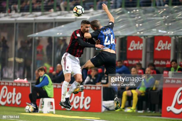 Mateo Musacchio of Ac Milan and Ivan Perisic of FC Internazionale in action during the Serie A football match between FC Internazionale and AC Milan...